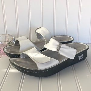 Alegria White Wedge Comfort Sandals